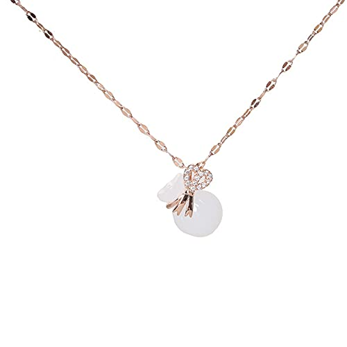 JIAQINGRNM Collares Tous Collar de Calabaza Colgante de Imitación de La Suerte Collar de Clavícula Femenina Joyería de Nicho Joyería de Temperamento Regalo de San Valentin Navidad