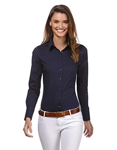 Vincenzo Boretti Damen Bluse besonders tailliert mit Stretch Langarm Hemdbluse elegant festlich Kent-Kragen auch für Business und unter Pullover dunkelblau 34