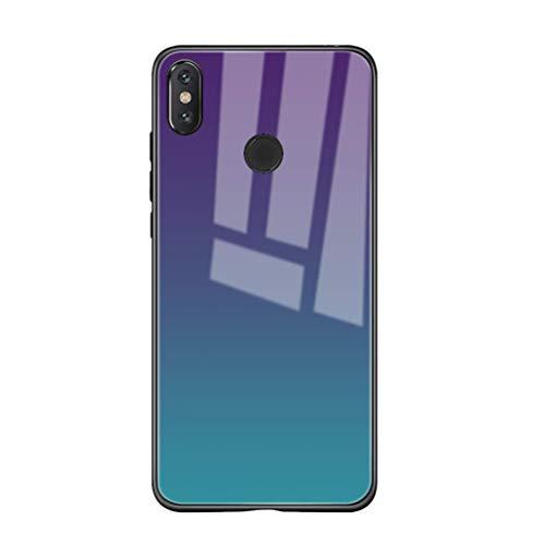 Riyeri - Carcasa para Xiaomi Mi Mix 2S/Mix 3 degradado, carcasa trasera de cristal protector [Shock-Absorción] (B, Mi Mix 2S)