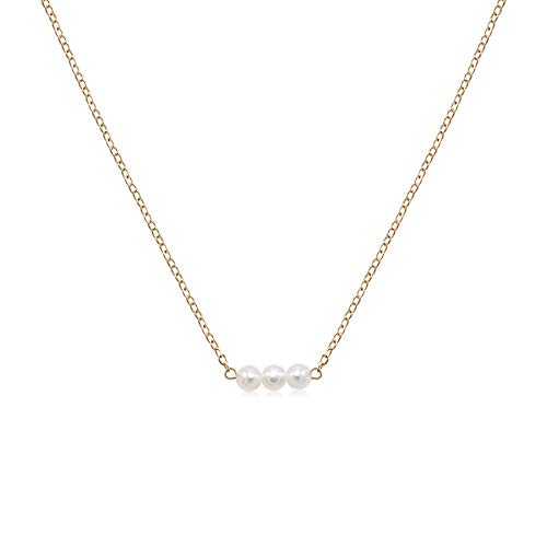 So Pretty Dainty Gold Pearl Choker Handmade Beads Pendant Layering Chain Necklace for Women Girls