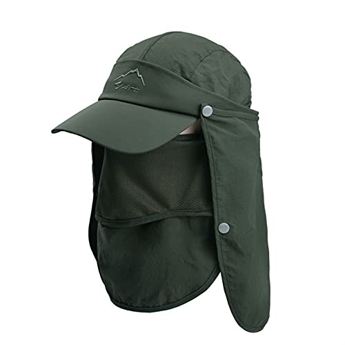 K68 UV Protección Sol Sombrero Multi función de la pesca al aire libre Hombrilla de sol Protección solar Sombrero Verano Secado rápido Cap Cap54-60 cm (Color : K68 AmyGreen, Size : M)