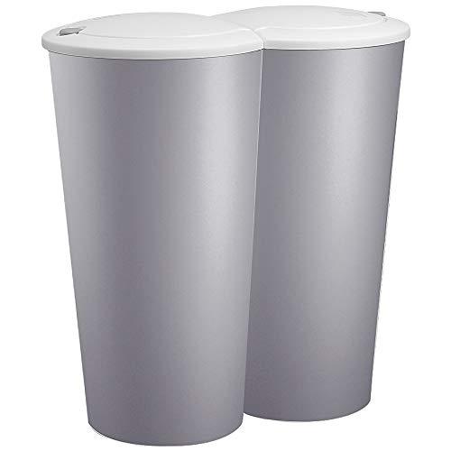 Mülleimer Duo Grau 50L Abfalleimer Doppelmülleimer 2fach Trennsystem Druckknopf Automatik Küche Bad Büro