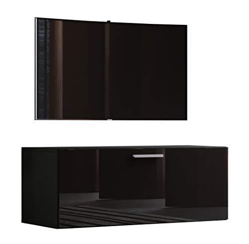 VCM TV Wand Board Schrank Tisch Fernseh Lowboard Wohnwand Regal Wandschrank Hängend Schwarz 40 x 95 x 36 cm