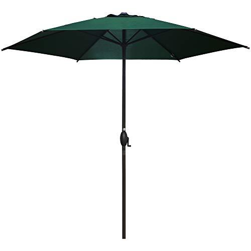 Abba Patio 9ft Patio Umbrella Outdoor Umbrella Patio Market Table Umbrella with Push Button Tilt and Crank for Garden, Lawn, Deck, Backyard & Pool, Green