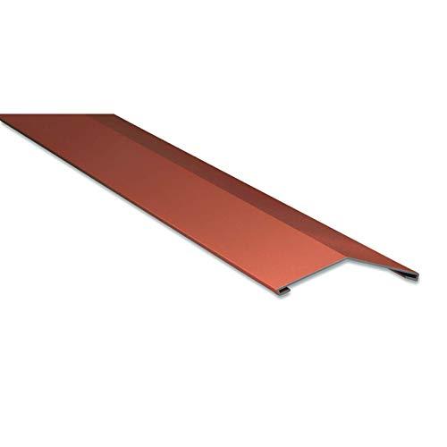 Firstblech flach | Kantteil | 145 x 145 mm | 150° | Material Stahl | Stärke 0,50 mm | Beschichtung 35 µm | Farbe Ziegelrot