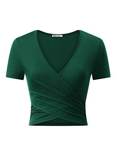 MSBASIC Crop Top Damen T-Shirt Bauchfrei Tops Damen V Ausschnitt Kurzarm Damen Oberteil Sommer Dunkelgrün-Kurzarm Large