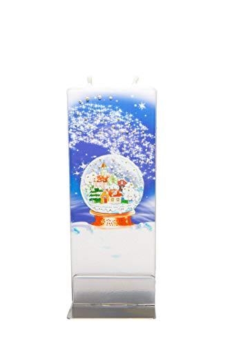 flatyz Flache besondere Kerzen Schneekugel. Handgemacht, geruchsneutral. Kerzen Lange brenndauer 3-4 Stunden, 60x10x150mm. Perfekt als besonderes Geschenk, Kerzen deko.