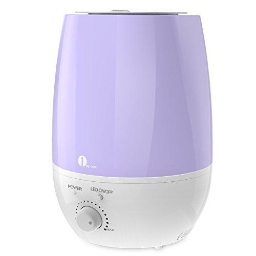 1byone Humidificador ultrasónico de 6 L, sin Ruido, 7 Luces LED y Apagado automático para su Oficina y casa (Púrpura)
