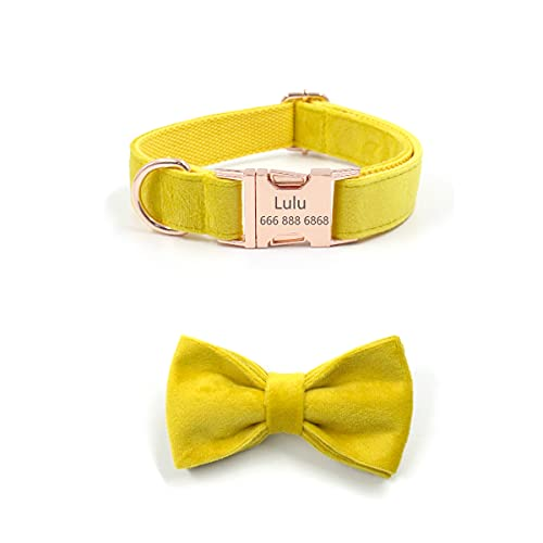 Personalized Dog Collar Velvet with Bow tie Puppy Collars Engraving Custom Pet Name Phone Number ID Tag Metal Buckle Adjustable Collars for Small Medium Large Dogs (S, Yellow)