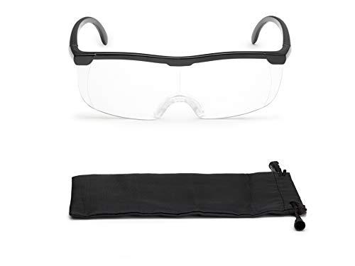 Vergrößerungsbrille Lupenbrille Zauberbrille Lupe auf der Nase optische Vergrößerung auf 200% (Schwarz)