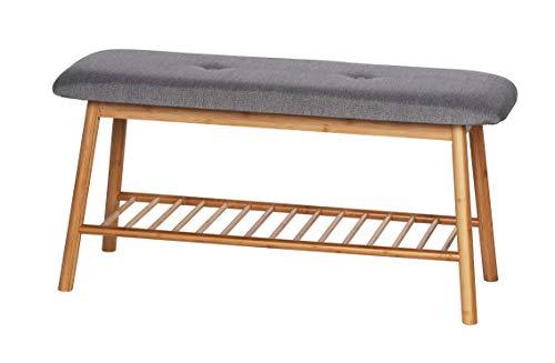 WENKO Banco con repisa para zapatos Bahari, Armario zapatero con asiento acolchado, Bambú, 90 x 45 x 34 cm, Marrón