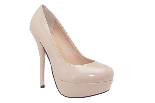 Ausgefallene Pumps aus beigem Lacklederimitat für Damen/Mädchen mit 14,0 cm Absatz, Plateau und runder Spitze – High-Heels – AM453 – EU 44