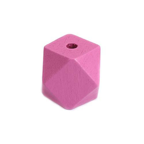 SiAura Material - 20 cuentas de madera fucsia de 20 mm x 20 mm con agujero de 3,4 mm I Forma geométrica I facetada I Para manualidades, enhebrar y pintar.