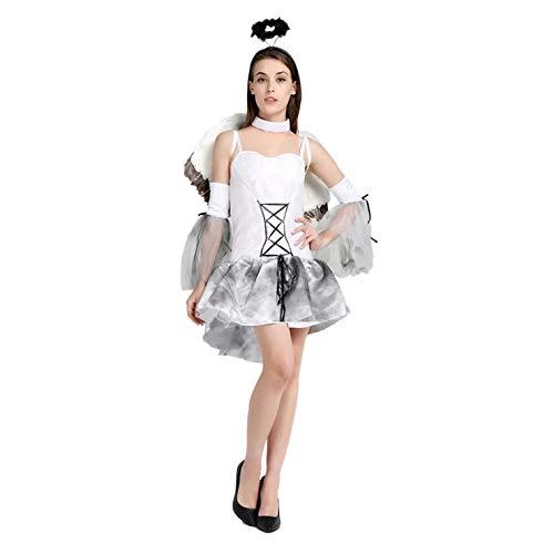 thematys Weißer Engel Engelskostüm Kostüm-Set für Damen - perfekt für Cosplay, Karneval & Halloween - Einheitsgröße 160-180cm
