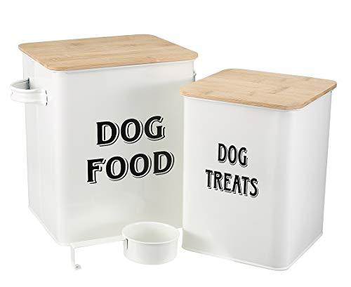 MOREZI Juego de recipientes para comida y refrigerios para mascotas, con cuchara y tapa hermética, mantiene los alimentos frescos, frasco de almacenamiento de alimentos para perros-Blanco