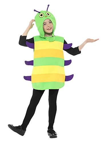 Luxuspiraten - Kinder Plüsch Raupen Kostüm mit Überwurf und Kopfbedeckung, perfekt für Karneval und Halloween, 104-116, Grün