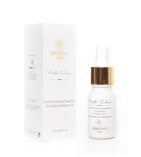 Aceite de Semillas de Higo Chumbo orgánico 100% puro y natural antienvejecimiento para el tratamiento orgánico del cabello y la cara para arrugas, líneas finas y ojeras (10 ml)