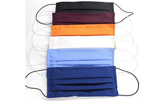 5 Mascherine colorate artigianali in doppio strato di puro cotone colori assortiti con tasca per inserimento ulteriore protezione