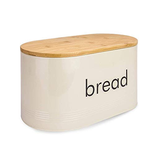 Kitchen Bread Bin with Bamboo Lid | Vintage Style Pastel Grey Bread Bin | Includes Bamboo Bread Cutting Board Lid | M&W