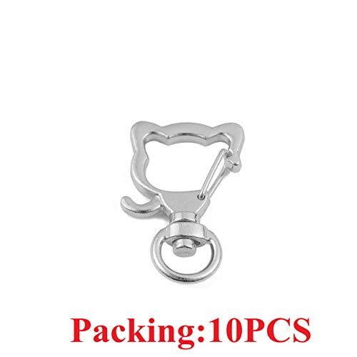 HUANGSAN 5-20 Stück/Los Schlüsselanhänger Ring Schlüsselbund Bronze Rhodium Gold 28mm Lange runde Geteilte Schlüsselringe Schlüsselbund Schmuckherstellung DIY, 10PCS Rhodium Katze