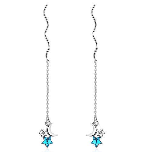 HUYV Stud Earrings For Woman,Fashion Long Wavy Tassel Blue Star Earrings 925 Silver Stud Earrings For Christmas Birthday Jewelry Gift Men Girls