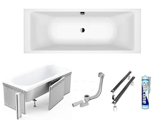 ECOLAM große Badewanne Wanne Borneo Rechteck Acryl weiß 200x90 cm Styroporverkleidung zum Verfliesen + Ablaufgarnitur Ab- und Überlauf Automatik Füße Silikon Mittelablauf ideal für Zwei Komplett-Set