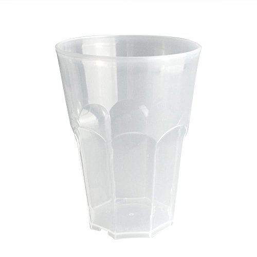 Cocktail Glas Doimoflair Mehrwegbecher PoppyMono 35 cl aus Kunststoff Plastik (PP) Transparent milchiger Optik Set 25 Stück