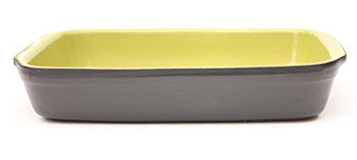 Amazing Cookware Plat Rectangulaire en Terre Cuite, en céramique, Noir Mat/Vert, 32 x 32 x 22 cm