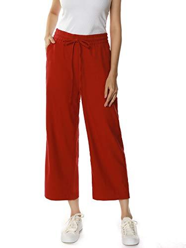 MOCOTONO Women's Linen Drawstring Elastic Waist Cropped Pants (XX-Large, Burgundy)