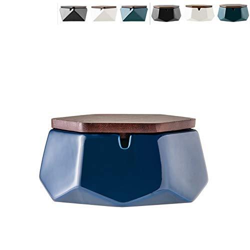 Imagen del producto Cenicero para exterior de Nedto con tapa, de cerámica, antiolor, para decoración de oficina en casa, Hexágono blanco.
