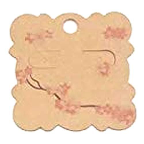 (I) 2穴 ビスケット型ピアス台紙 5枚セット (カラー)02 ペーパータグ アクセサリー台紙 クラフト 厚紙 値札 ラッピング 人気 プレゼント
