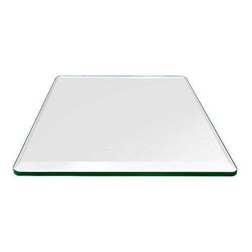 "TroySys Square 1/2 Inch Thick Bevel Polished Annealed Glass Table Top Radius Corner, 24"" L"
