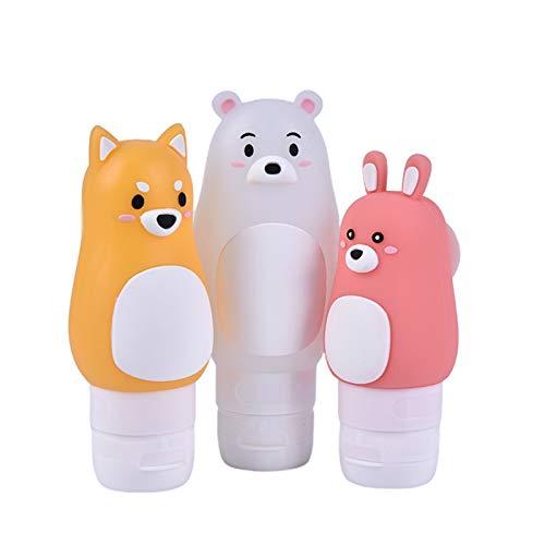 JSJJAUJ Kosmetikbehälterflasche 50/70 / 90ml Cartoon Silikon Reiseflaschen Set Squeeze Flasche Mehrzweckbehälter Nachfüllflaschen Silikon Make-up-Flaschen (Color : 70ml as pic)