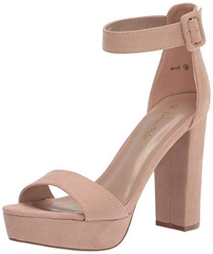 Dream Pairs Women's Hi-Lo Nude Suede High Heel Platform Pump Sandals - 8 M US