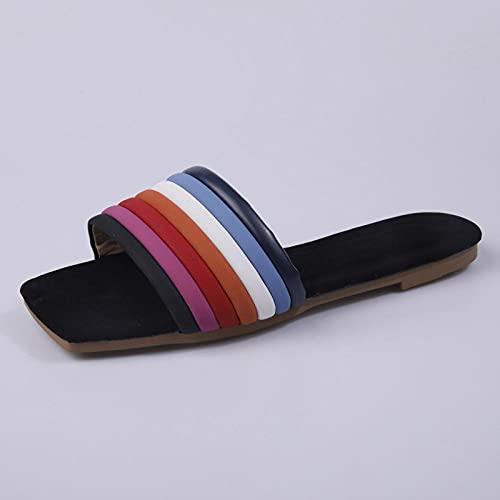 MDCGL Zapatos De Piscina Zapatillas Coloridas al Aire Libre para Mujer,Sandalias Informales cómodas con Punta Abierta Descalzas para niñas,Chanclas,Zapatos arcoíris EU37