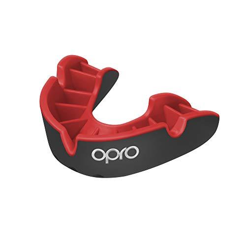 Opro Mundschutz Silver - Zahnschutz für Handball, Karate, Rugby, Hockey, Boxen, Lacrosse, American Football, Basketball - Selbst anformbar - im UK Entworfen & Hergestellt (Schwarz/Rot, Erwachsene)