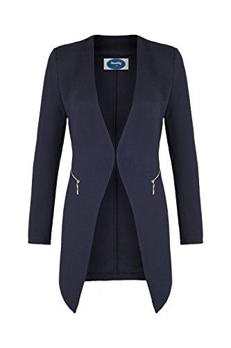 4tuality 4tuality AO Long Blazer kragenlos mit Zipper blau Gr. M