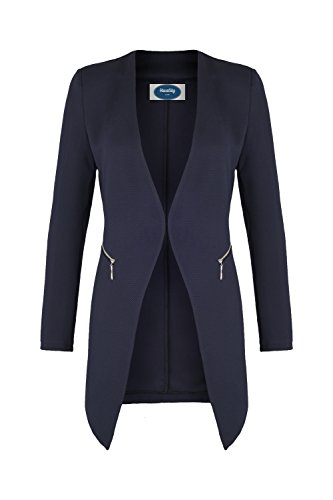 4tuality AO Long Blazer kragenlos mit Zipper blau Gr. XL
