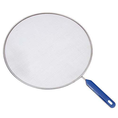 Yestter Stainless Steel Splatter Guard Stainless Steel Splash Screen Large Frying Pan Splash Guard Splatter Screen With Handle With Blue ABS Handle Non-Stick Extra Fine Mesh Weave For Cooking & Frying