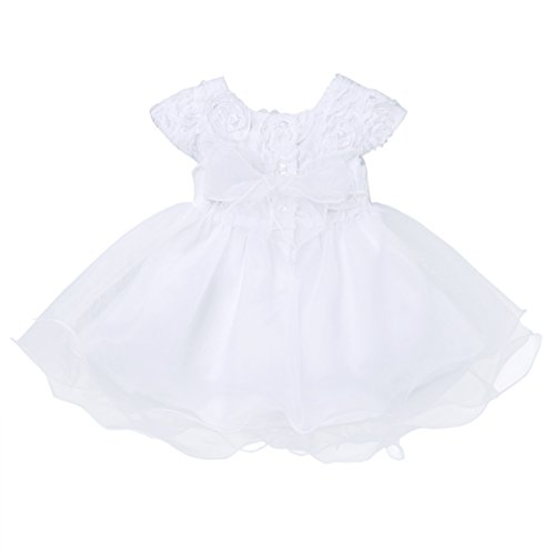 TiaoBug 3 Meses a 24 Meses Vestido de Flor Rosa para Recién Nacidas de Cumpleaños Boda Bautizo Gala Vestido con Tutú Verano Infántil Pricesa Niñas Blanco 18-14 Meses