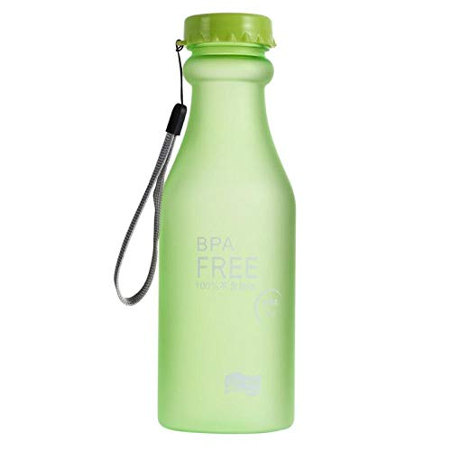 miaoyu Botella de agua deportiva de 550 ml, botella de plástico para agua esmerilada a prueba de fugas, para deportes al aire libre, bicicleta, correr, acampar (capacidad: 550 ml, color: A)