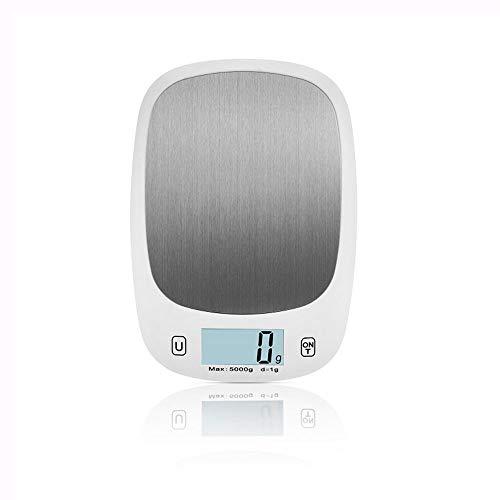 Ningz0l Digitale keukenweegschaal voor thuis, bakverlichting, roestvrij staal, medische wegen 5 kg, elektronische wegen 217.5 * 152 * 19 mm (zonder batterij) wit