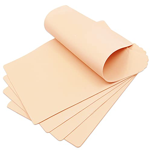 Blank Tattoo Skin Practice,CINRA Double Sides 5 Sheets 7.4x5.6' Blank Double Sides Silicone Tattoo Practice Skin Soft Silicone Pads Tattoo and Microblading Practice Skin for Tattoo Supplies (5PCS)