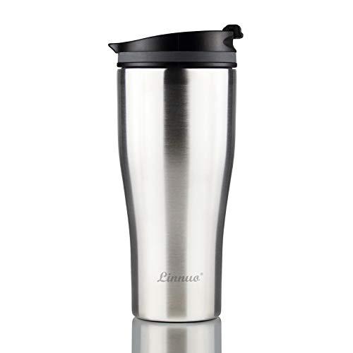 Linnuo Thermobecher Edelstahl Kaffeebecher to go Becher 380ml - 100% Auslaufsicher perfekt fürs Auto & unterwegs - Isolierbecher - 6h warm ideal Trinkbecher für Kaffee & Tee - Travel Mug mit Deckel