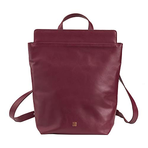 DUDU Women's Backpack Soft Leather Casual Large Minimalist Backpack with Zip Zip Burgundy
