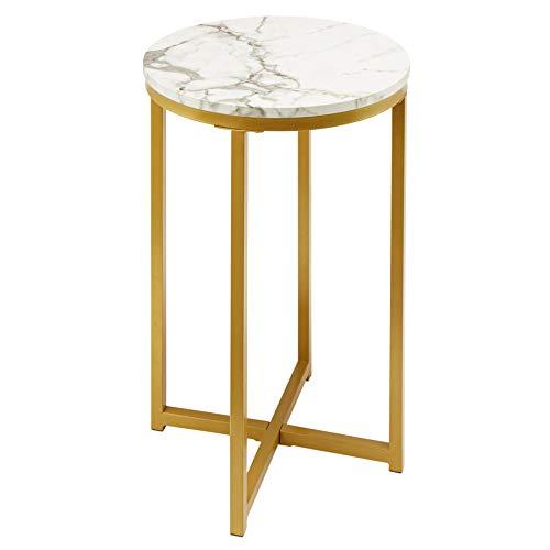 CO-Z Couchtisch 40cm Beistelltisch Runder Couchtisch Sofa Teetisch marmortisch mit Kunstmarmorplatte Nachttisch für Wohnzimmer Schlafzimmer Weiß und Gold