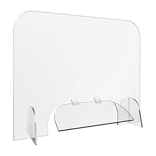 Sneeze Guard for Counter and Desk - Acrylic Divider Plexiglass Barrier Protection Shield for Checkout Counter Desk 32' x 24'