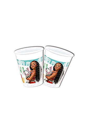 Folat B.V. Disney 49767Moana Vasos Decoración Plástico, 200ml, Pack de 8