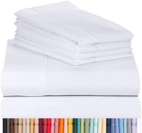 LuxClub 6 PC Sheet Set Bamboo Sheets Deep Pockets 18″ Eco Friendly Wrinkle Free Sheets Machine Washable Hotel Bedding Silky Soft – White California King