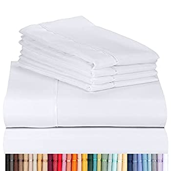 LuxClub 6 PC Sheet Set Bamboo Sheets Deep Pockets 18  Eco Friendly Wrinkle Free Sheets Machine Washable Hotel Bedding Silky Soft - White Queen